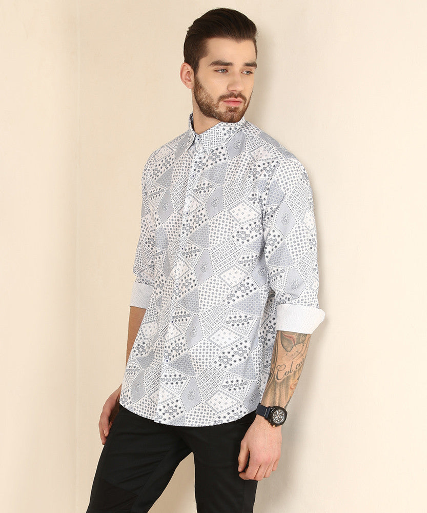 Yepme Rodrix Party Shirt - White & Blue