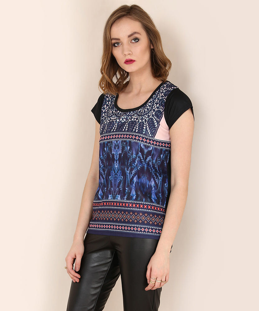 Yepme Janice Party Top - Blue & Black