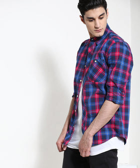 Yepme Warner Premium Check Shirt - Blue & Maroon