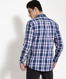 Yepme Warner Premium Check Shirt - Blue & Purple