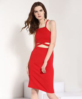 Yepme Cut-Out Bodycon Dress - Red