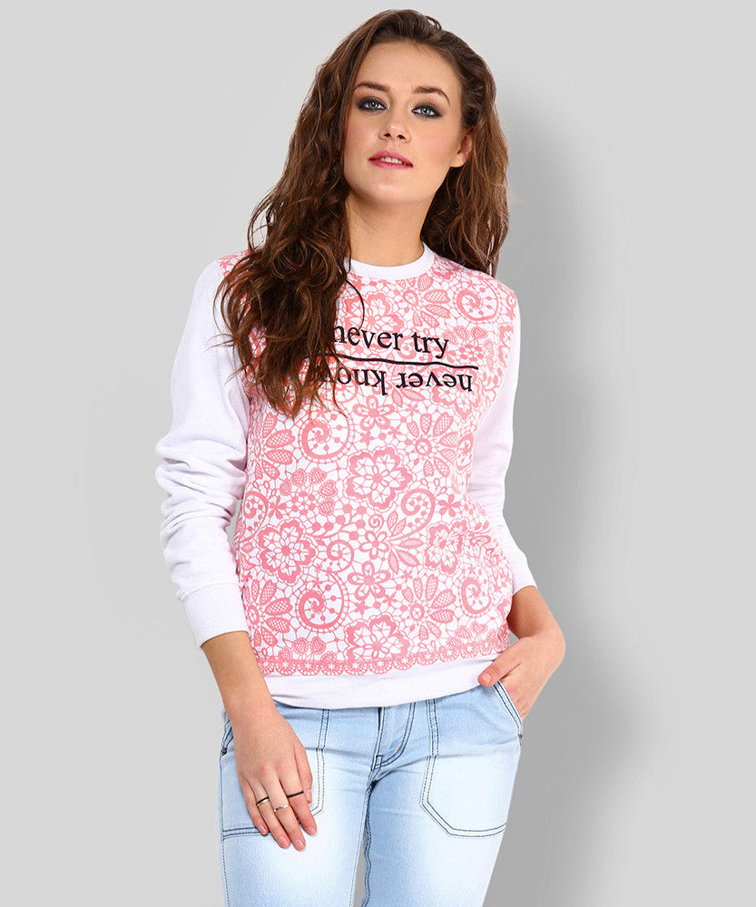 Yepme Mandy Printed Sweatshirt - White