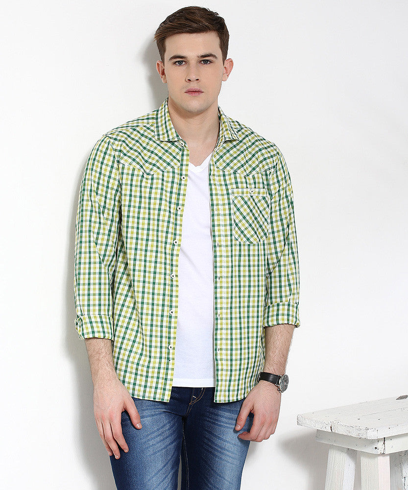 Yepme Button-Down Check Shirt - Green & Blue