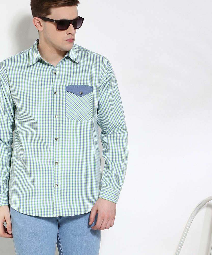 Yepme Button-Down Check Shirt - Blue & Green
