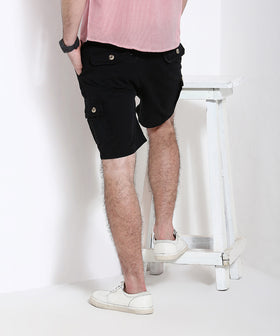 Yepme Cargo Solid Shorts - Black