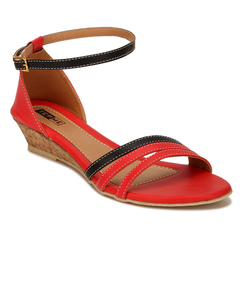 Yepme Red & Black Sandals