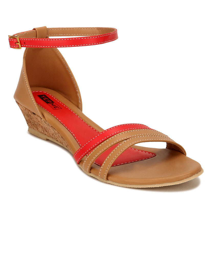 Yepme Beige & Red Sandals