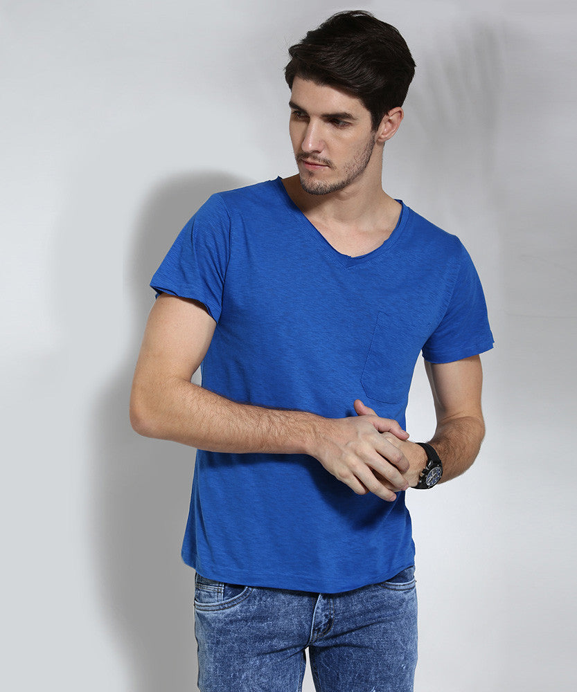 Yepme Solid V-neck Tee - Blue