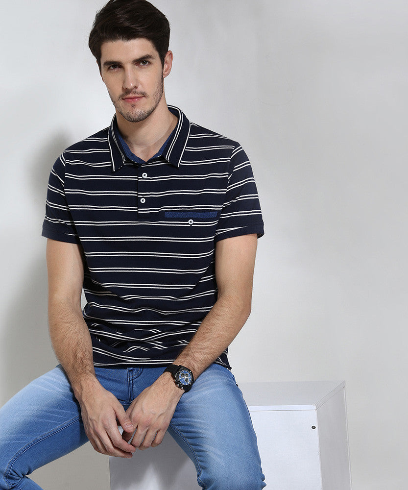 Yepme Striped Polo Tee - Blue