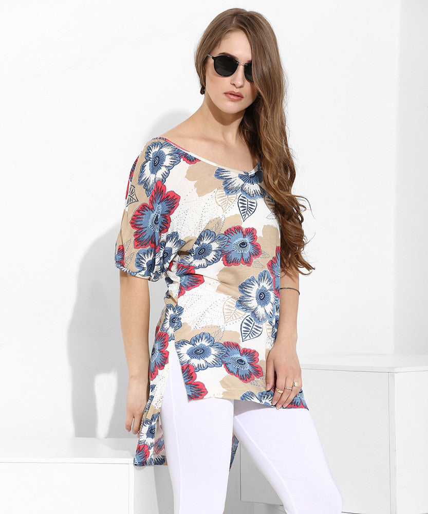 Yepme Tiffany Asymmetrical Top - Cream & Blue