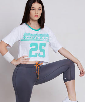 Yepme Milley Aztec 25 High Performance Crop Top - White