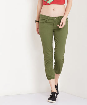 Yepme Stephy Colored Capri Joggers - Olive