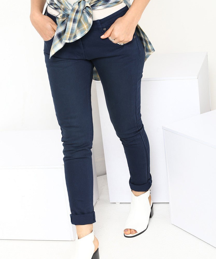 Yepme Stella Drill Denim Pants - Blue
