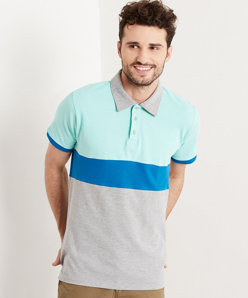 Yepme Rolf Polo Tee - Green & Grey