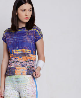 Yepme Agnes Distort Print Top - Blue