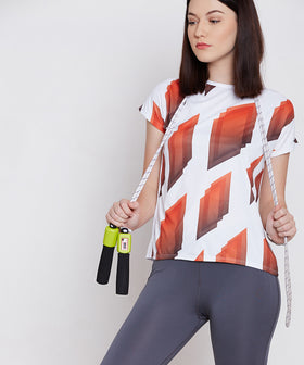 Yepme Agnes Geometric Print Top - White