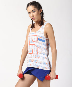 Yepme Birdie Floral Stripe Tank Top - White & Orange
