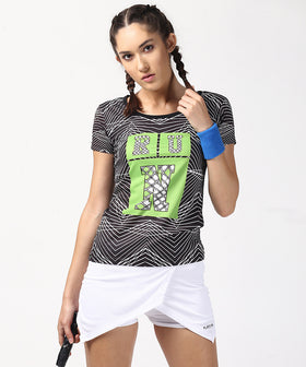 Yepme Caroline Abstract Stripe Tee - Black & White