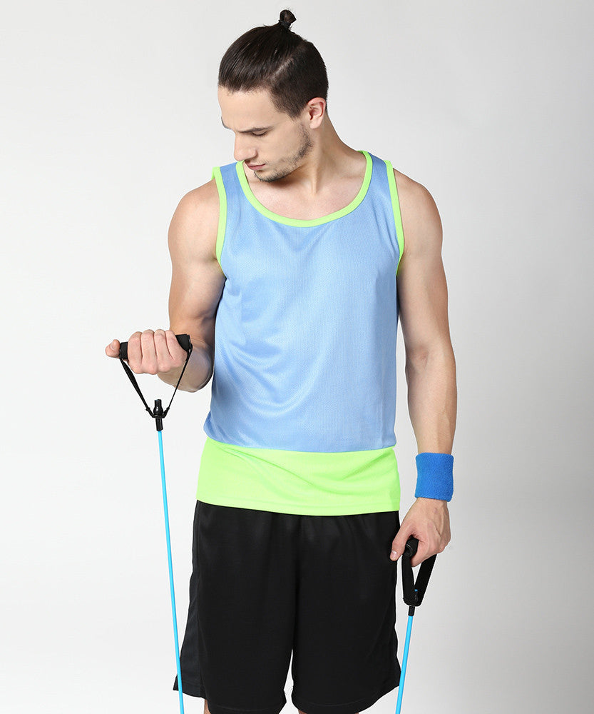 Yepme Kurt Muscle Vest - Blue & Neon Green