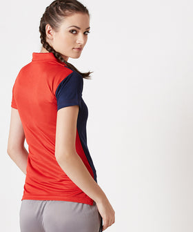 Yepme Carlyn Dryfit Polo Tee - Red & Blue