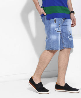 Yepme Douges Lighte Wash Denim Shorts - Blue