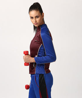 Yepme Sue Track Jacket - Wine & Blue