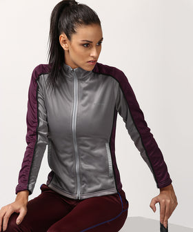 Yepme Sue Track Jacket - Grey & Wine