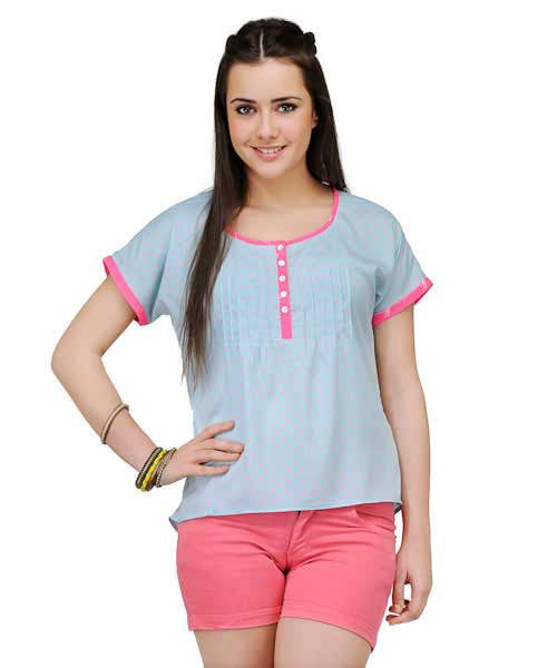 Yepme Regina Heart Print Top – Fair Aqua