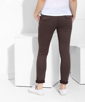 Yepme Arleen Printed Pants - Brown