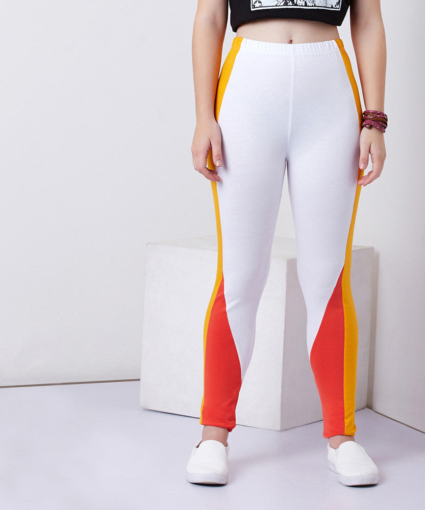 Yepme Demmi Leggings - White & Coral