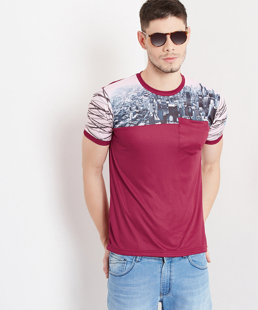 Yepme Ron Round Neck Tee-Burgandy