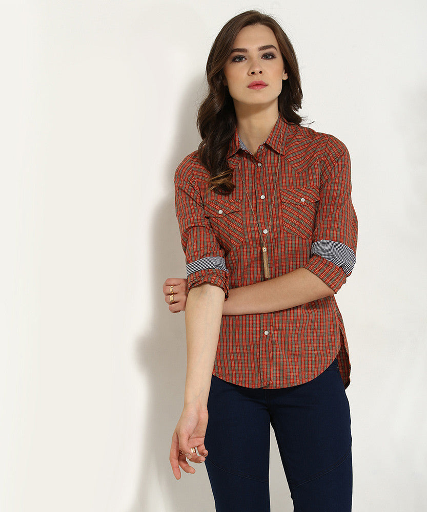 Yepme Derica Checkered Shirt - Red