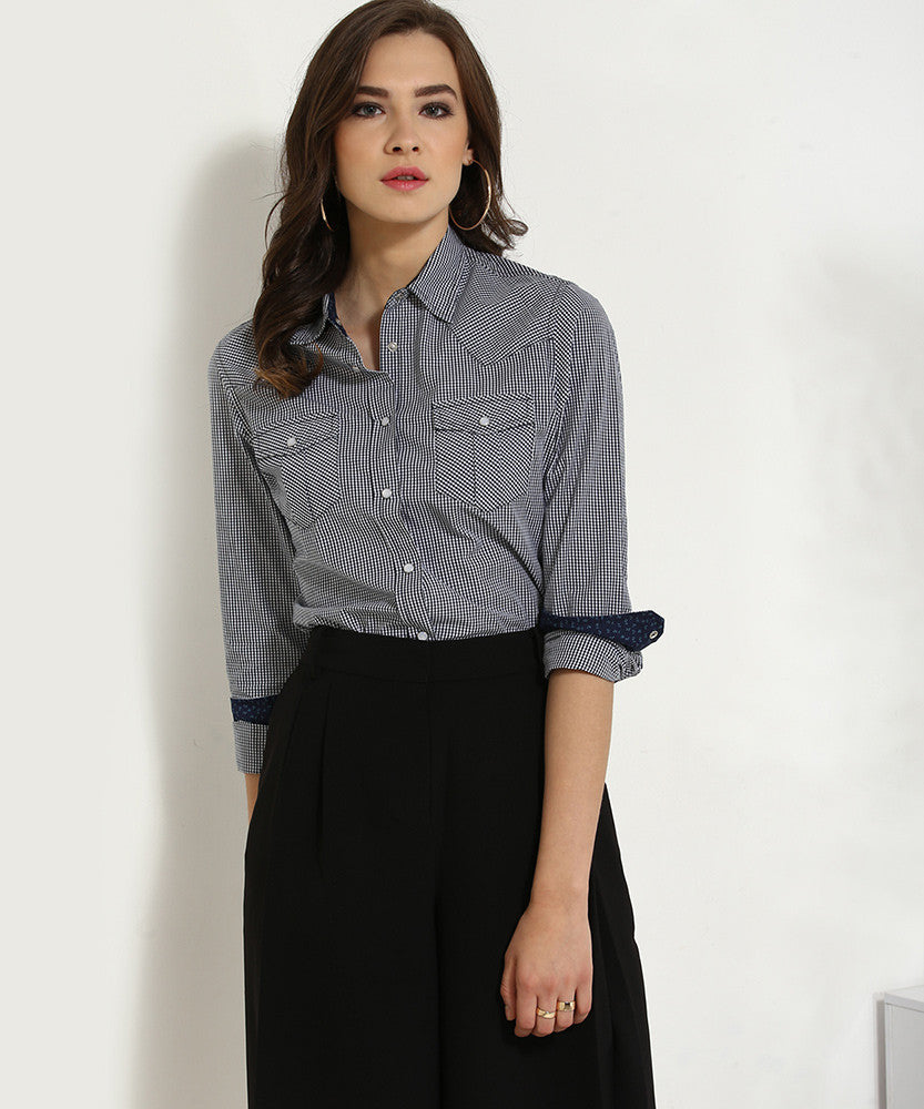 Yepme Derica Checkered Shirt - Black & White
