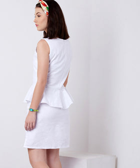 Yepme Jodie Linen Dress - White
