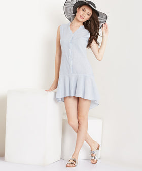 Yepme Zoe Linen Dress-Blue-Ecru
