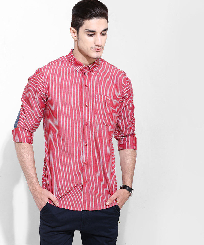 Yepme Jordan Striped Shirt - Maroon