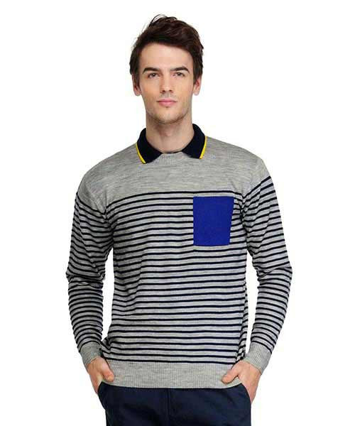 Yepme Rick Sweater - Melange Grey & Navy Blue