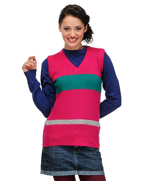 Yepme Casey Sleeveless Sweater - Pink & Teal Blue