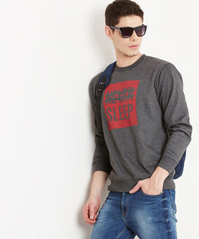 Yepme Bob Round Neck Sweatshirt - Grey