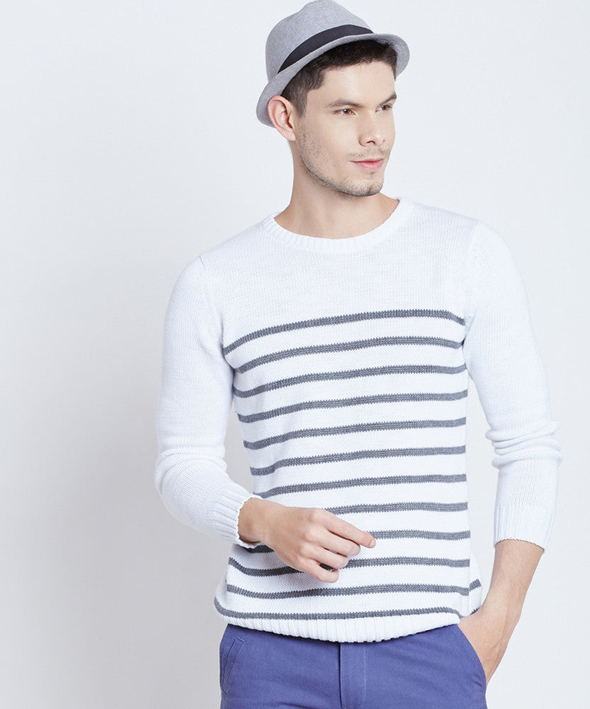 Yepme Daniel Striped Sweater - White & Black