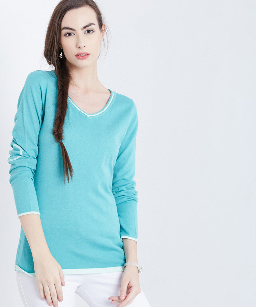 Yepme Julia V-Neck Sweater - Green