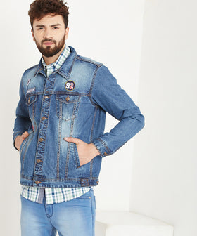 Yepme Graham Medium Wash Denim Jacket - Blue