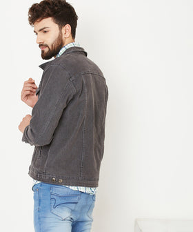 Yepme Graham Charcoal Wash Denim Jacket - Black