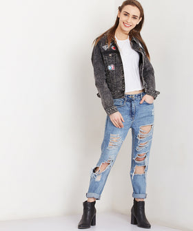 Yepme Albina Teen Patch Denim Jacket - Black