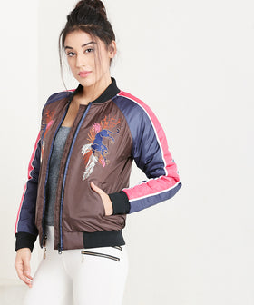Yepme Joyce Bomber Jacket - Brown & Navy