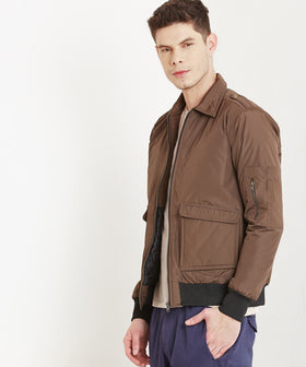Yepme Manfred Utility Flight Bomber Jacket - Brown