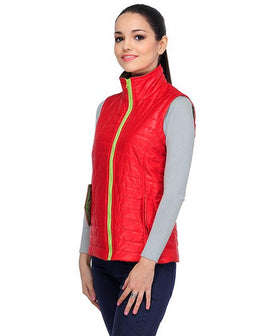 Yepme Hannah Sleeveless Bomber Jacket- Red & Green
