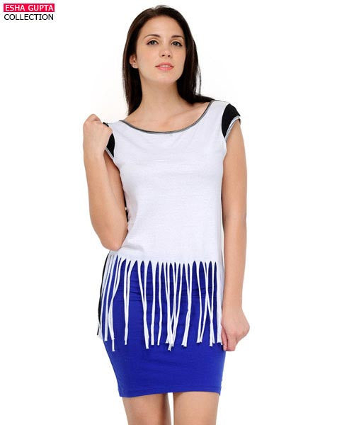 Yepme Lucy Fringe Top - White & Black