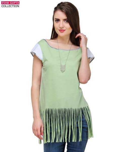 Yepme Lucy Fringed Top - Green