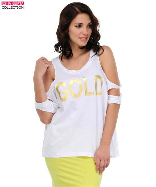 Yepme Gold Printed Top - White